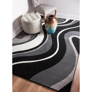 Well Woven Mano Waves Stripe Lines Shades of Grey, Black, and White Area Rug (5'3 x 7'3)