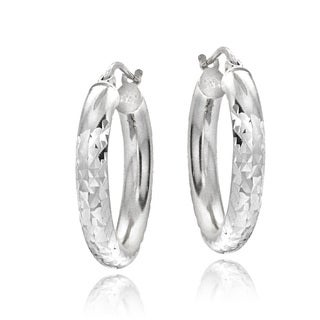 Mondevio Sterling Silver High Polish Diamond Cut 20 mm Hoop Earrings (3mm)