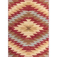 Well Woven Malibu Southwestern Kilim Red Multi Polypropylene Rug - 8'2 x 9'10