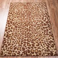 Well Woven Malibu Leopard Print Brown Beige Area Rug - 5' x 7'