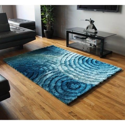 Blazing Needles 5-foot by 7-foot Concentric Waves Textured Gradated Shag Rug - 5' x 7'