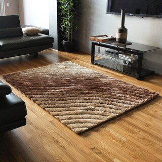 Blazing Needles 5-foot by 7-foot Curving Waves Textured Gradated Shag Rug - 5' x 7'