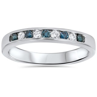 14k White Gold 1/4ct TDW Blue and White Diamond Band
