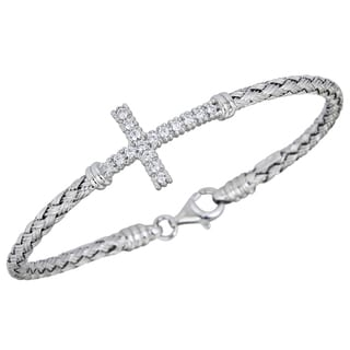 Decadence Sterling Silver Cubic Zirconia Basketweave Sideways Cross Bracelet