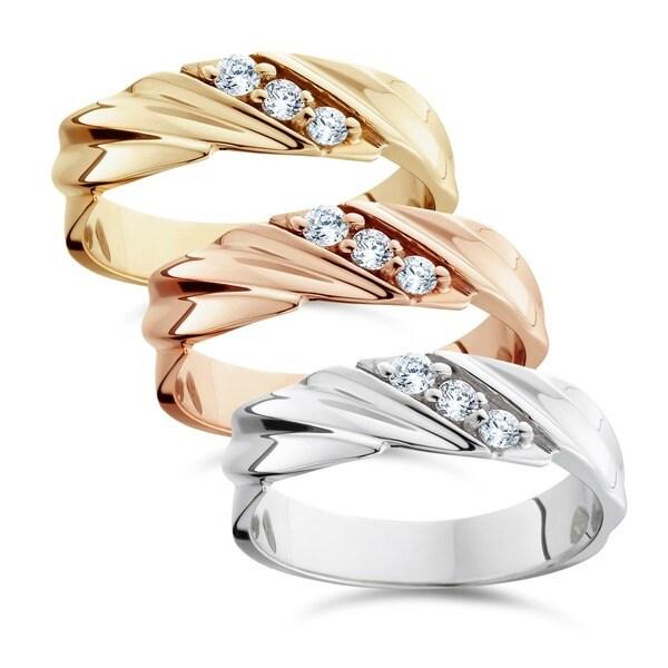 14k White Yellow and Rose Gold Men's 1/5ct TDW 3-stone Diamond Wedding Ring