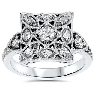 10k White Gold 1/ 2ct TDW Diamond Vintage Square Ring (I-J, I2-I3)