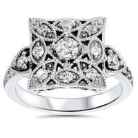 10k White Gold 1/ 2ct TDW Diamond Vintage Square Ring