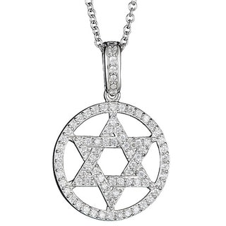 Decadence Sterling Sliver Micropave CZ Star of David Halo Pendant