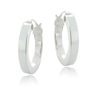 Mondevio Sterling Silver High Polish 20 mm Square Tube Hoop Earrings