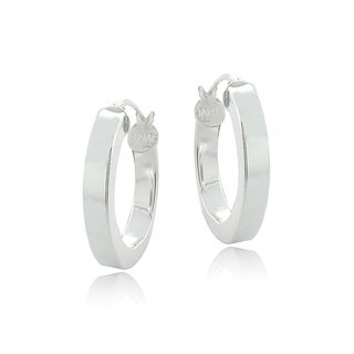 Mondevio Sterling Silver High Polish 15 mm Square Tube Hoop Earrings (Option: Rose Gold over Silver)