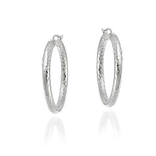 Mondevio Sterling Silver High Polish Diamond Cut Popcorn Hoop Earrings