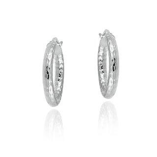 Mondevio Sterling Silver High Polish Diamond Cut Popcorn 20mm Hoop Earrings