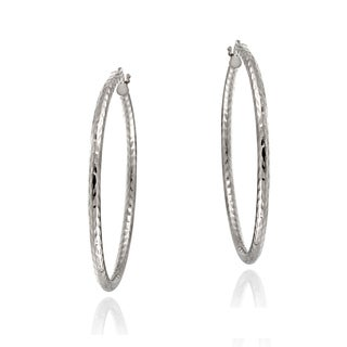 Mondevio Sterling Silver High Polish Diamond Cut Popcorn 40mm Hoop Earrings