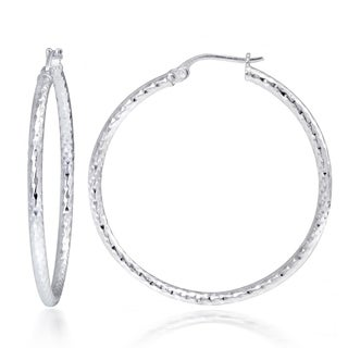 Mondevio Sterling Silver High Polish Diamond Cut Popcorn 35 mm Hoop Earrings