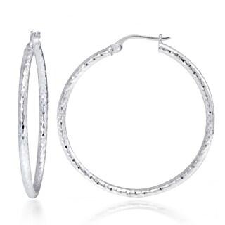 Mondevio Sterling Silver High Polish Diamond Cut Popcorn 35 mm Hoop Earrings