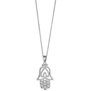 Decadence Sterling Silver Micropave CZ Cut-out Hamsa Pendant
