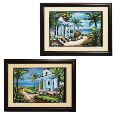 'Beach House' Coastal Framed Wall Art (Set of 2)