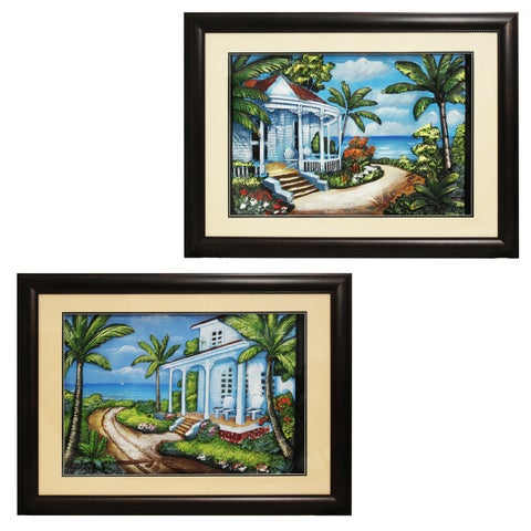'Beach House' Coastal Framed Wall Art (Set of 2)