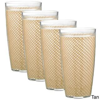 Kraftware 22-ounce Fishnet Double Wall Drinkware (Set of 4) (Option: Tan)