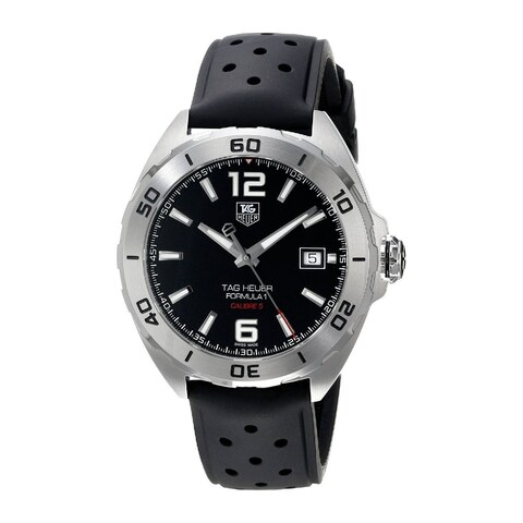 Tag Heuer Men's WAZ2113.FT8023 'Formula 1' Black Dial Black Rubber Strap Automatic Watch