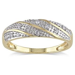 Miadora 10k Yellow Gold Men's 1/10ct TDW Diamond Ring