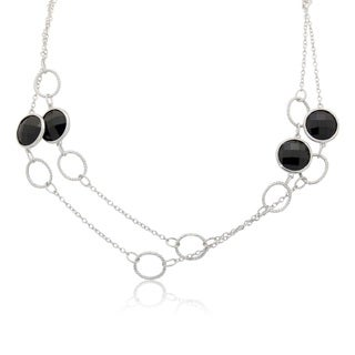 Gioelli Sterling Silver Double Faced Checkerboard Black Cubic Zirconia Chain Necklace