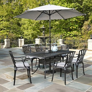 Largo 7-piece Dining Set with Umbrella and Cushions by Home Styles