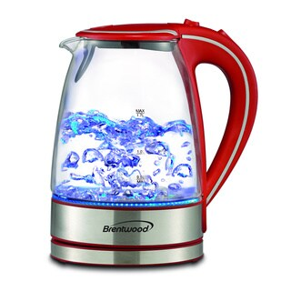 Brentwood KT-1900R Royal Glass/ Stainless Steel Blue LED Cordless Electric Hot Water Kettle