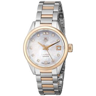 Link to Tag Heuer Women's WAR2452.BD0772 'Carrera' Mother of Pearl Diamond Dial Two Tone Automatic Watch Similar Items in Women's Watches
