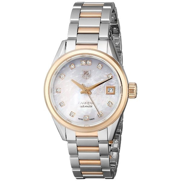 Tag Heuer Women's WAR2452.BD0772 'Carrera' Mother of Pearl Diamond Dial Two Tone Automatic Watch. Opens flyout.