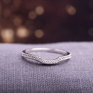 sterling silver 110ct tdw diamond anniversary style contour stackable wedding band - Wedding Ring Bands