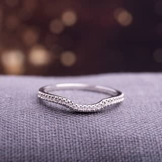 sterling silver 110ct tdw diamond anniversary style contour stackable wedding band - Wedding Bands And Engagement Rings