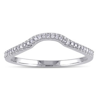 Sterling Silver 1/10ct TDW Diamond Anniversary Style Contour Stackable Wedding Band (5 options available)