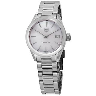 Tag Heuer Women's 'Carrera' Mother of Pearl Dial Stainless Steel Swiss Quartz Watch