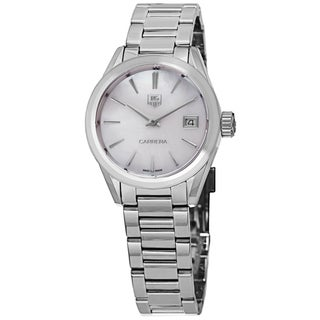 Link to Tag Heuer Women's  'Carrera' Mother of Pearl Dial Stainless Steel Swiss Quartz Watch Similar Items in Women's Watches