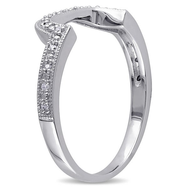 Size-5.25 1//10 cttw, Diamond Wedding Band in Sterling Silver G-H,I2-I3