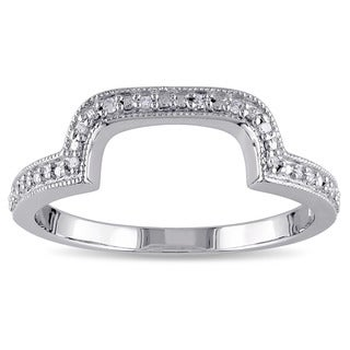 Miadora Sterling Silver Diamond Accent Contour Wedding Band Ring