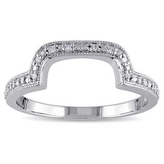 Miadora Sterling Silver Diamond Accent Contour Wedding Band Ring (G-H, I2-I3)