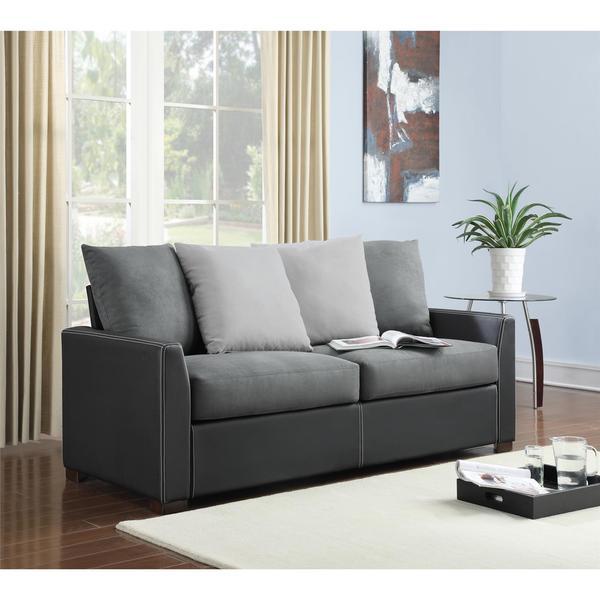 Shop Dorel Living Bristol Black Faux Leather Sofa