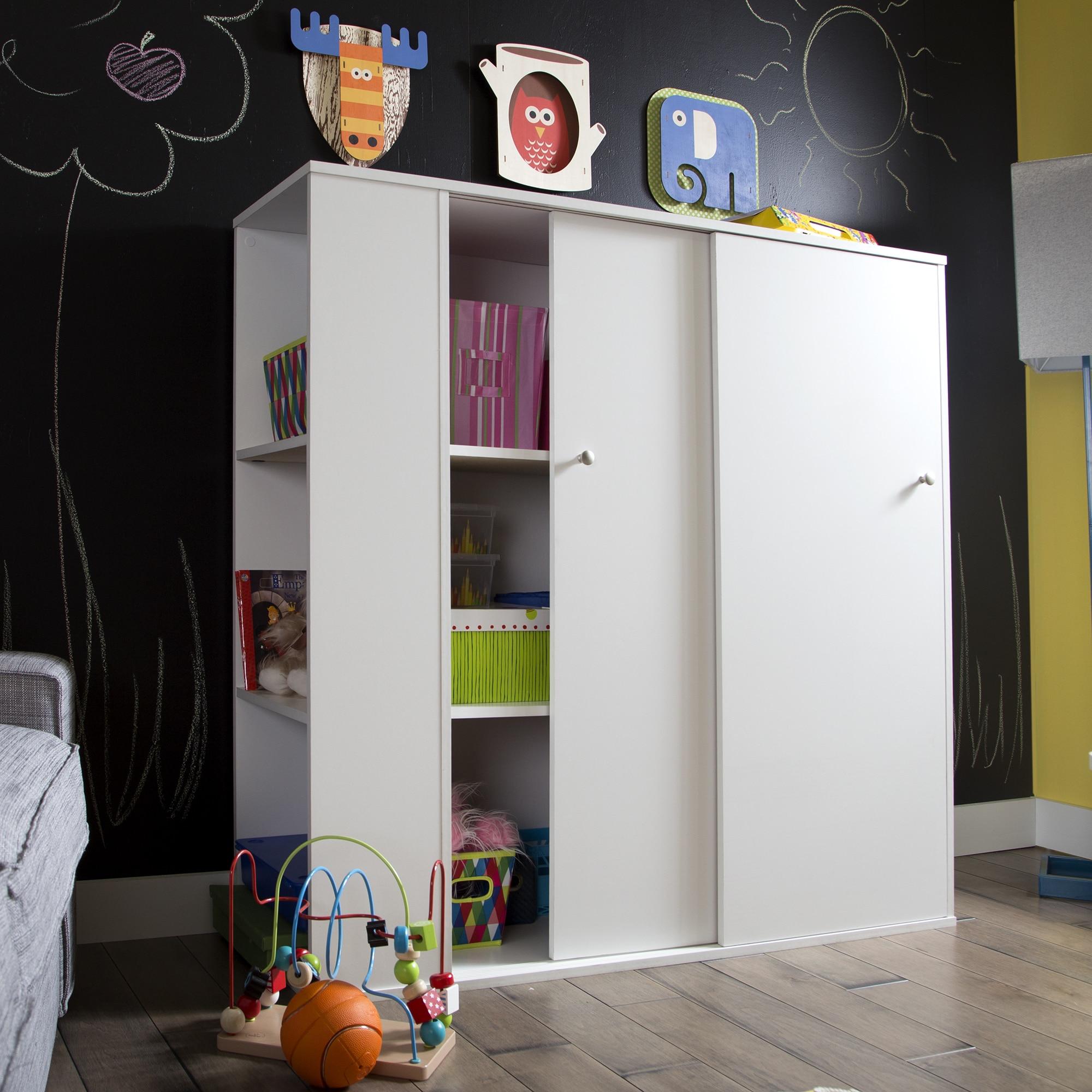 Shop South Shore Storit Pure White Sliding Door Kid S Storage Cabinet Overstock 9809666