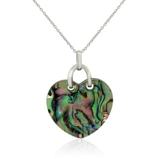 Gioelli Sterling Silver Abalone and Black Onyx Heart Necklace