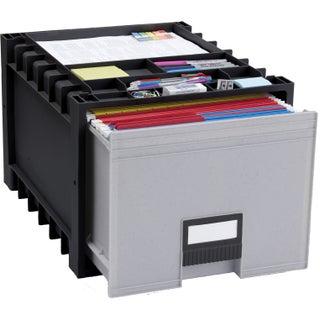 "Plastic Archive Storage Box /Letter & Legal size /18""-Inch Depth/ Black&Gray"