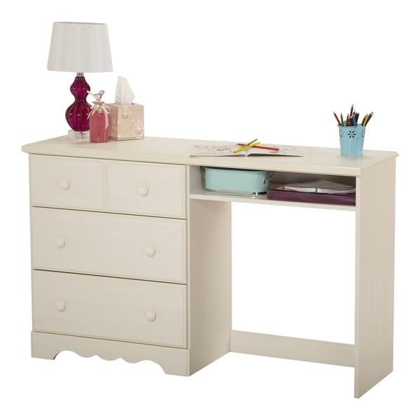 South Shore Summer Breeze White Wash 3 Drawer Desk