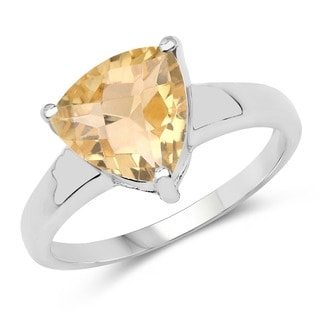 Malaika Sterling Silver 2.30ct. Trillion-cut Citrine Ring