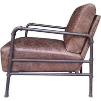 Aurelle Home Industrial Rustic Leather Accent Chair