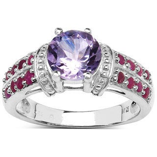 Malaika Sterling Silver 1 90ct TCW Amethyst And Ruby Ring