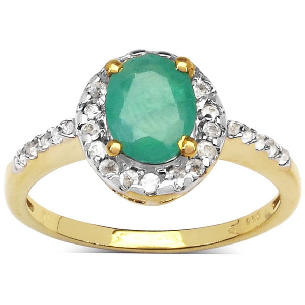 Malaika Goldplated Sterling Silver 1 3/5Ct. TCW Emerald and White Topaz Ring