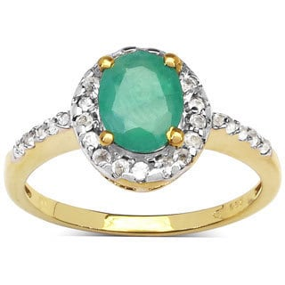 Malaika 14k Goldplated Sterling Silver 1 3/5ct. TCW Emerald and White Topaz Ring