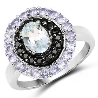 Malaika Sterling Silver 1 3/4ct. TCW Aquamarine and Multi-colored Ring