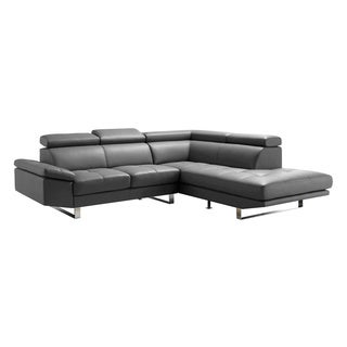 Aurelle Home Philip Grey Sectional L-shape Right Sofa
